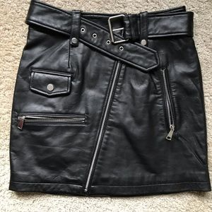 Bagatelle NYC Belted Leather Skirt